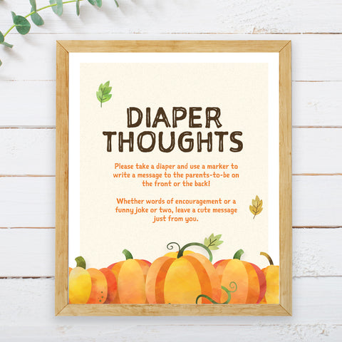 Pumpkin Diaper Thoughts Sign