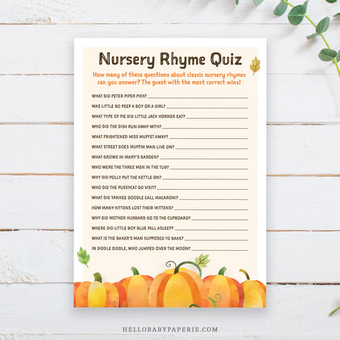 Pumpkin Nursery Rhyme Quiz