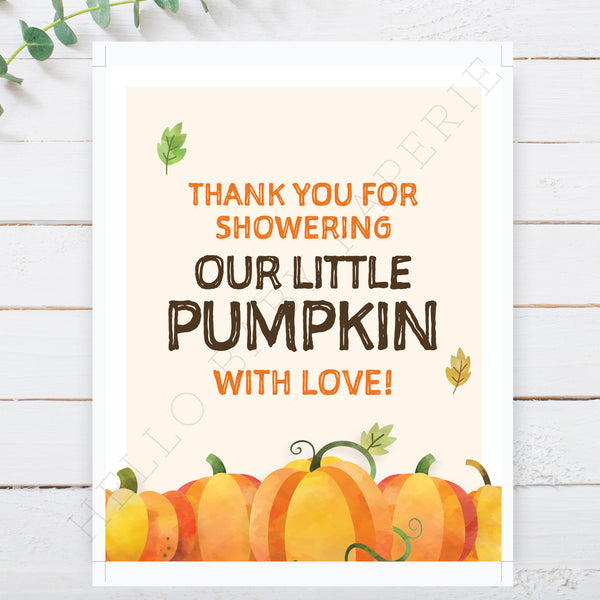 Pumpkin Thank You Sign