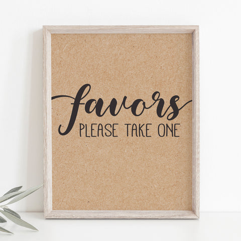 Rustic Kraft Favors Sign Template