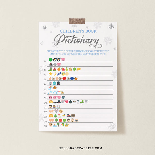 Baby Boy Snowflake Children's Book Emoji Game Template - Hello Baby Paperie