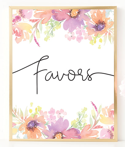 Pastel Floral Favors Sign Template