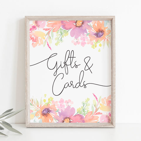 Pastel Floral Gifts and Cards Sign Template