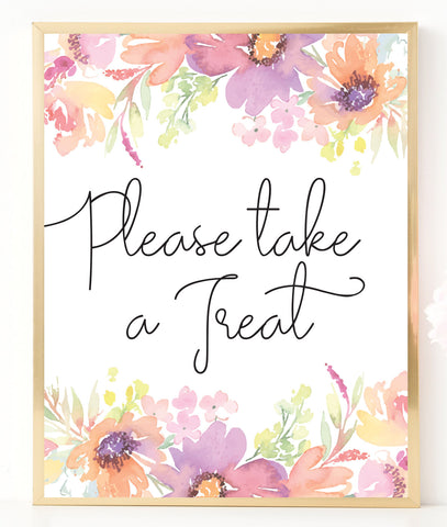 Pastel Floral Please Take a Treat Sign Template