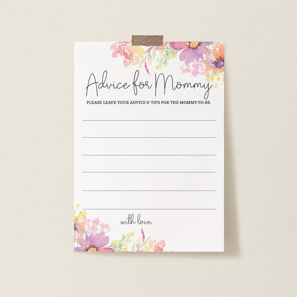 Pastel Floral Advice for Mommy Card Template