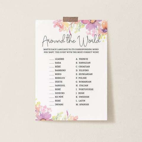 Pastel Floral Around the World Game Template