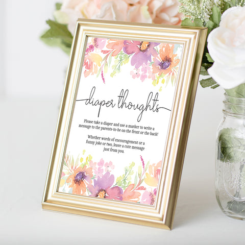 Pastel Floral Diaper Thoughts Sign Template