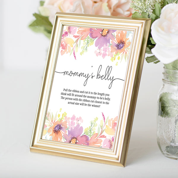 Pastel Floral How Big is Mommy's Belly Game Sign Template