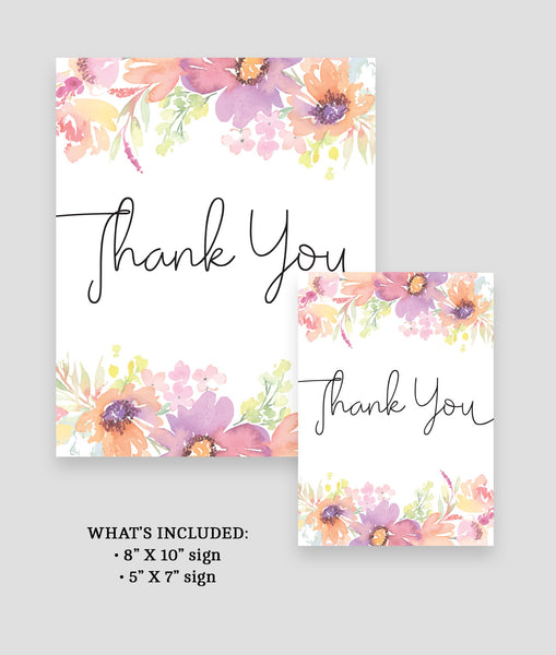 Pastel Floral Thank You Sign Template