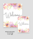 Pastel Floral Welcome Sign Template