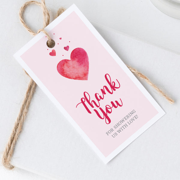 Pink Hearts Thank You Tags