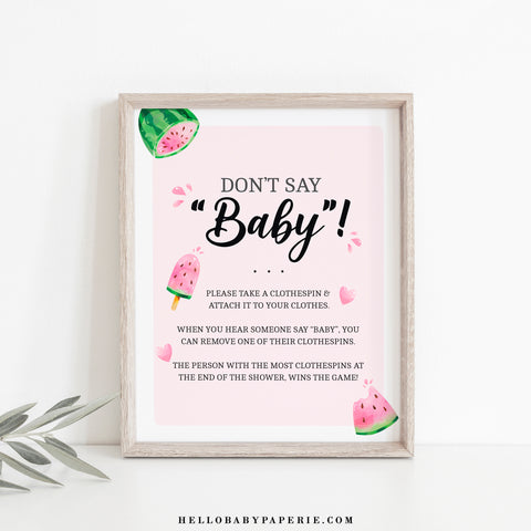 Watermelon Don't Say Baby Game Sign - Hello Baby Paperie