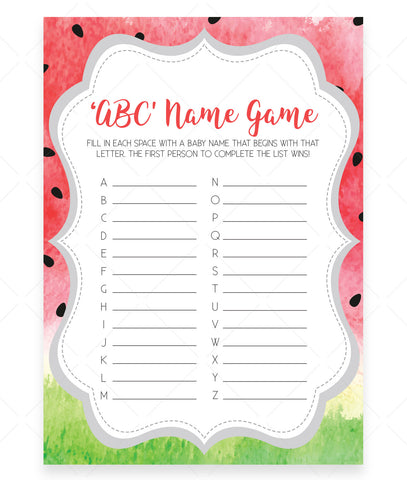 Watermelon ABC Baby Name Game Template