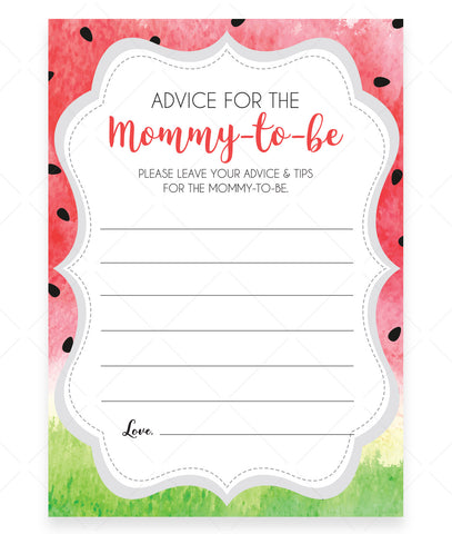 Watermelon Advice for Mommy Cards