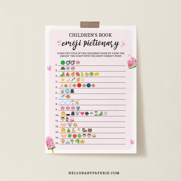 Watermelon Children's Book Emoji Game Template