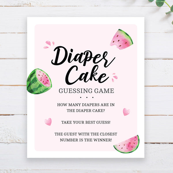 Watermelon Diaper Cake Guessing Game Sign