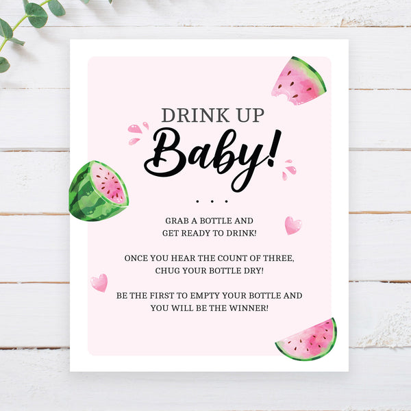 Watermelon Drink Up Baby Game Sign - Hello Baby Paperie