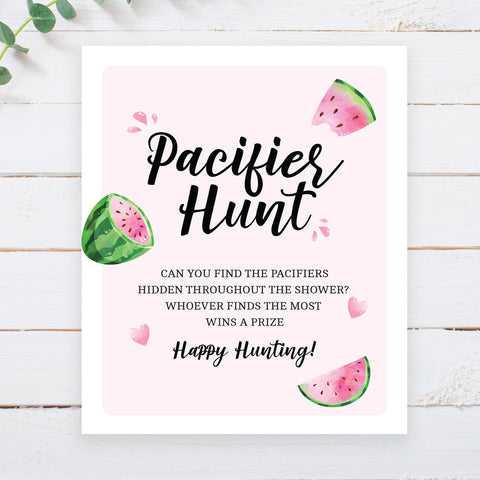 Watermelon Pacifier Hunt Game Sign - Hello Baby Paperie