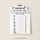 Rustic Kraft Animal Gestation Game Template