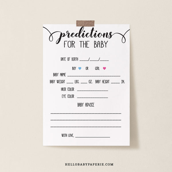 Rustic Kraft Predictions for the Baby Cards