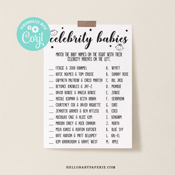 Rustic Kraft Celebrity Baby Match Game Template