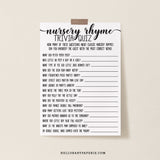 Rustic Kraft Nursery Rhyme Quiz Game Template