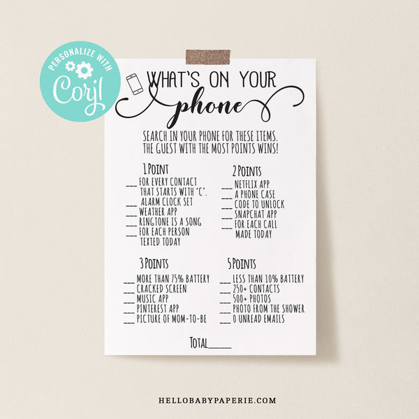 Rustic Kraft What's On Your Phone Game Template - Hello Baby Paperie
