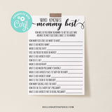Rustic Kraft Who Knows Mommy Best Game Template - Hello Baby Paperie