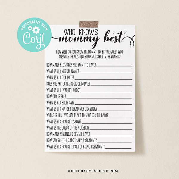 Rustic Kraft Who Knows Mommy Best Game Template