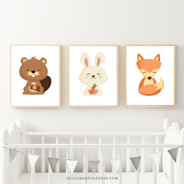 Set of 3 Woodland Trio Nursery Artwork