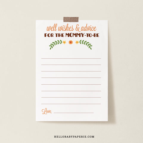 Woodland Trio Advice for Mommy Card Template - Hello Baby Paperie