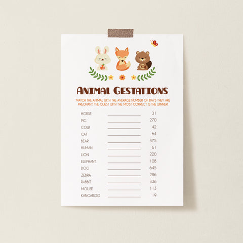 Woodland Trio Animal Gestation Game - Instant Download - Hello Baby Paperie