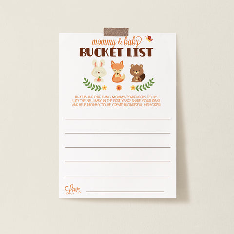 Woodland Trio Bucket List Cards Template - Hello Baby Paperie