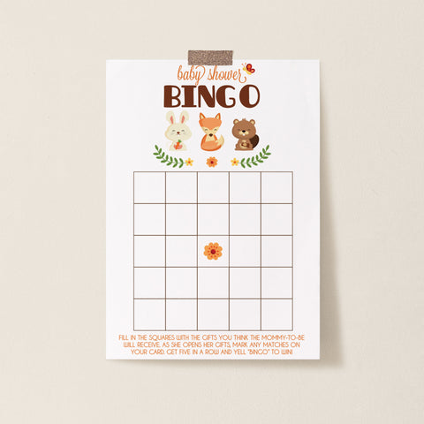 Woodland Trio Bingo Game Template