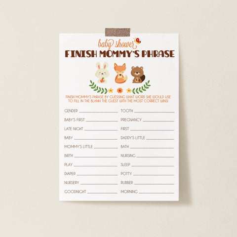 Woodland Trio Finish Mommy's Phrase Game Template - Hello Baby Paperie