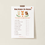 Woodland Trio The Price is Right Game Template - Hello Baby Paperie