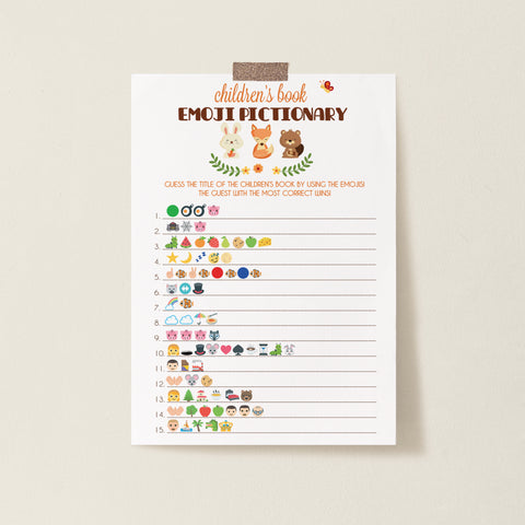 Woodland Trio Children's Book Emoji Game Template - Hello Baby Paperie