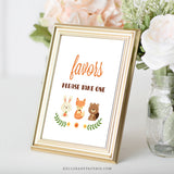 Woodland Trio Favors Sign