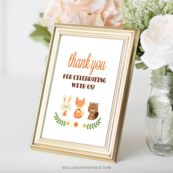 Woodland Trio Thank You Sign