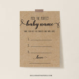 Rustic Kraft Pick the Baby Name Card Template