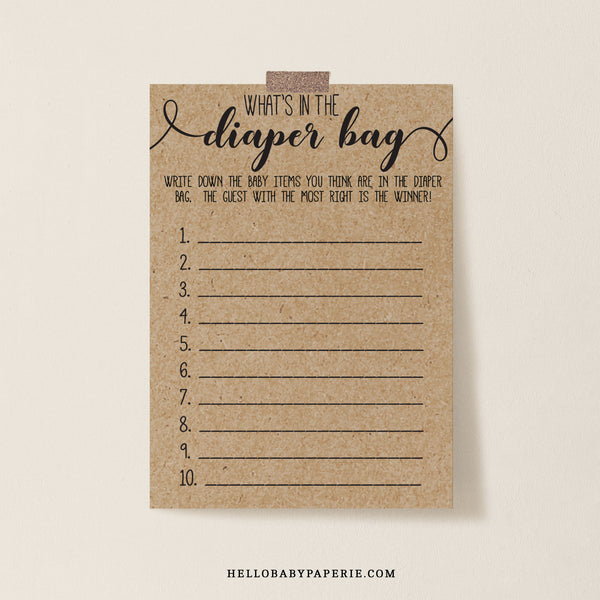 Rustic Kraft What's in the Diaper Bag Game Template