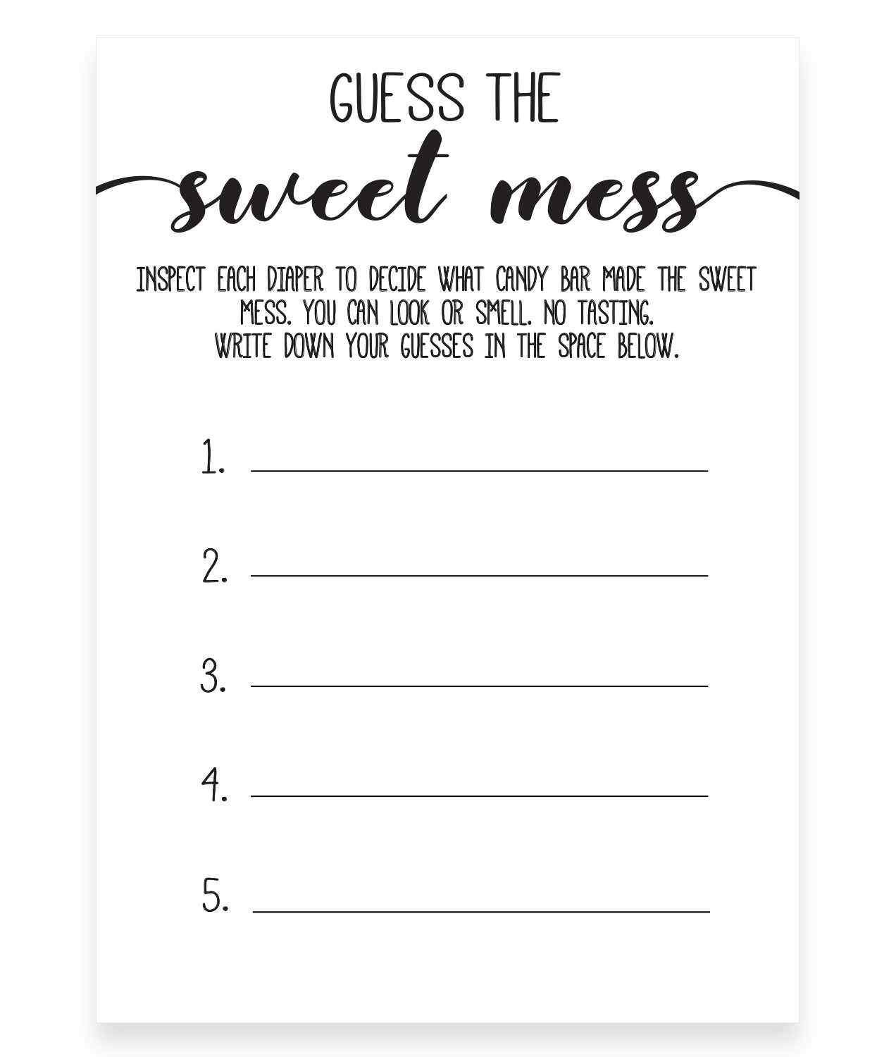 Rustic Kraft Guess The Sweet Mess Game Template Hello Baby Paperie