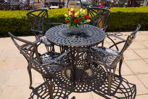 Four-Seater Willow Set with 100cm Round Crystal Table