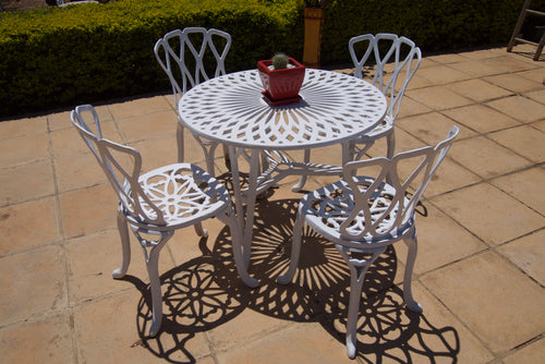 Four-Seater Petite (NO ARMS) Set with 85cm Round Crystal Table