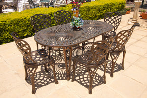 Six-Seater Small Crystal Set with 157cm Oval Crystal Table