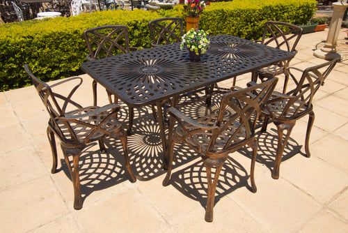 Six-Seater Small Willow Set with 157cm Rectangular Crystal Table