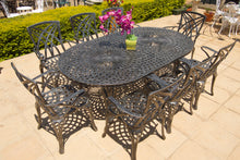 Load image into Gallery viewer, Eight-Seater Willow Set with 219cmx125cm Oval Crystal Table