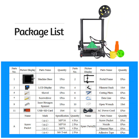 3d printer, 3d printer package lists
