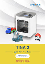 Load image into Gallery viewer, TINA 2 3D Printer for Kids,100*105*100mm(3.9*4.1*3.9inch)Desktop 3D Printer