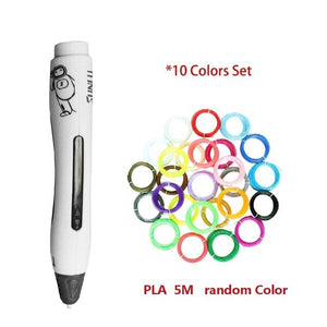 SL-400A 3D Printing Pen With Filaments Creative Doodling Drawing Pen Rechargeable Printer For Kids & Adults